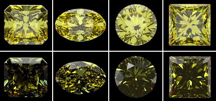 Study of Interdependence: Fancy-color Diamond Appearance, Cut, and Lighting Conditions